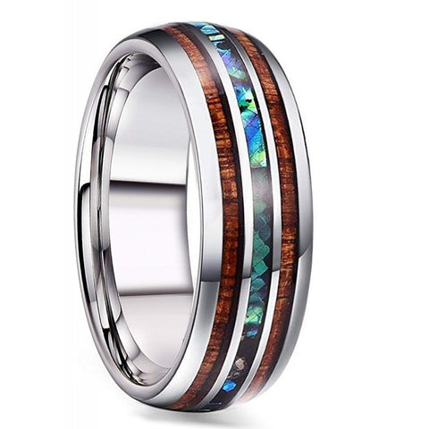 Taj - Titanium Men's Wooden Ring with Sandalwood Inlay - 8mm
