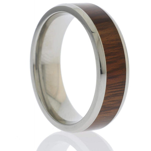 Tatsuya - Stainless Steel Men's Wooden Ring with Sandalwood Inlay - 8mm