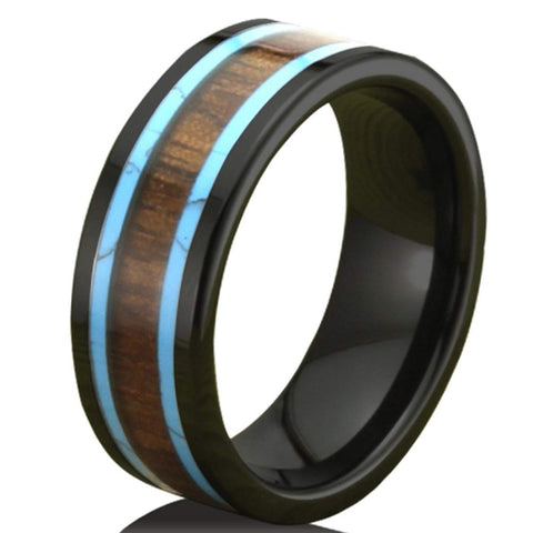 Vipor - Ceramic Men's Wooden Ring with Sandalwood Inlay - 8mm