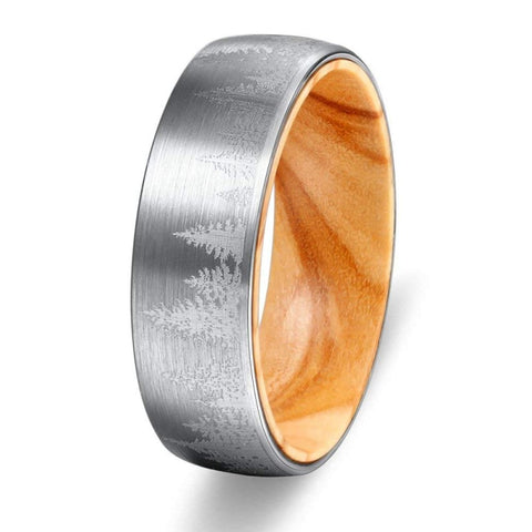 Everest - Tungsten Carbide Men's Wooden Ring with Oak Wood Inlay - 8mm