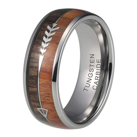 Copy of The Arrow Collection Siver - Tungsten Carbide Men's Wooden Ring - Sandalwood & Zebrawood - 8mm
