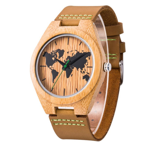 World Map Series - Bamboo Wooden Watch