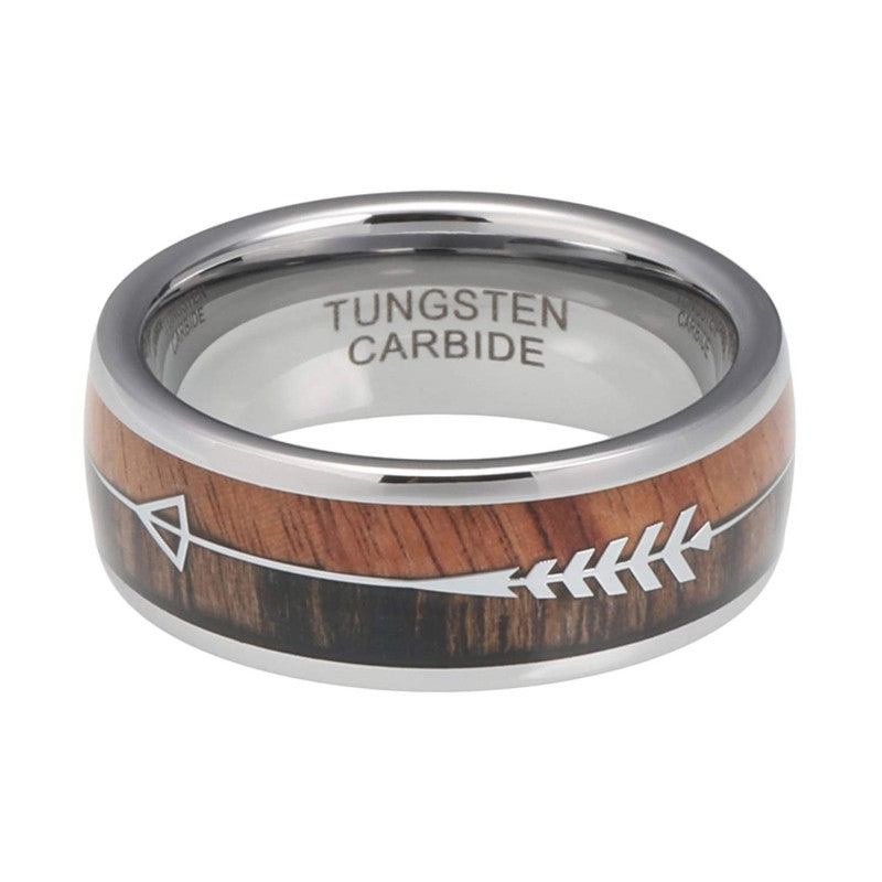 The Arrow Collection Siver - Tungsten Carbide Men's Wooden Ring - Sandalwood & Zebrawood - 8mm