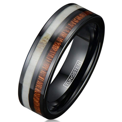 Atticus - Tungsten Carbide Men's Women's Sandalwood Wooden Ring - 8mm & 6mm