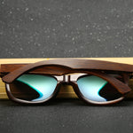 Premium Dark Zebra Collection - Wayfarer Series Wooden Sunglasses - Fire Tint