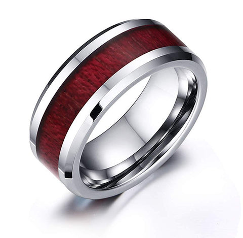 Dunstan - Stainless Steel Men's Wooden Ring with Sandalwood Inlay - 8mm