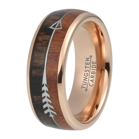The Arrow Collection Gold - Tungsten Carbide Men's Wooden Ring - Sandalwood Inlay - 8mm