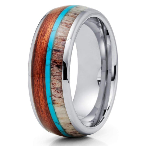 Achilles - Tungsten Carbide Men's Wooden Ring - Sandalwood Inlay - 8mm