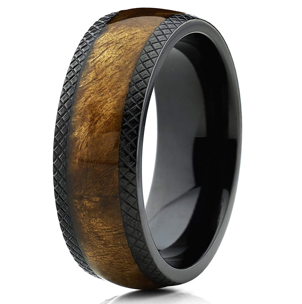 Eragon - Titanium Men's Wooden Ring with Sandalwood Inlay - 12mm