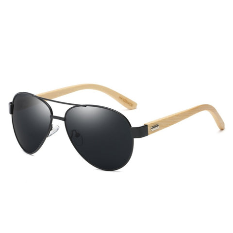 Top Gun Bamboo Wood Collection - Aviator Series Wooden Sunglasses - Midnight Tint