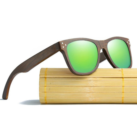 Alexander Walnut Wood Collection - Wayfarer Round Series Wooden Sunglasses - Beach Tint