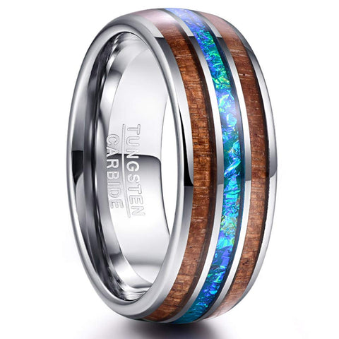 Cosmos Collection Silver - Tungsten Carbide Men's Wooden Ring - Sandalwood Inlay - 8mm