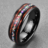 Cosmos Collection Obsidian - Tungsten Carbide Men's Wooden Ring - Sandalwood Inlay - 8mm