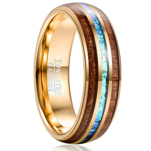 Cosmos Collection Gold - Tungsten Carbide Men's Wooden Ring - Sandalwood Inlay - 8mm
