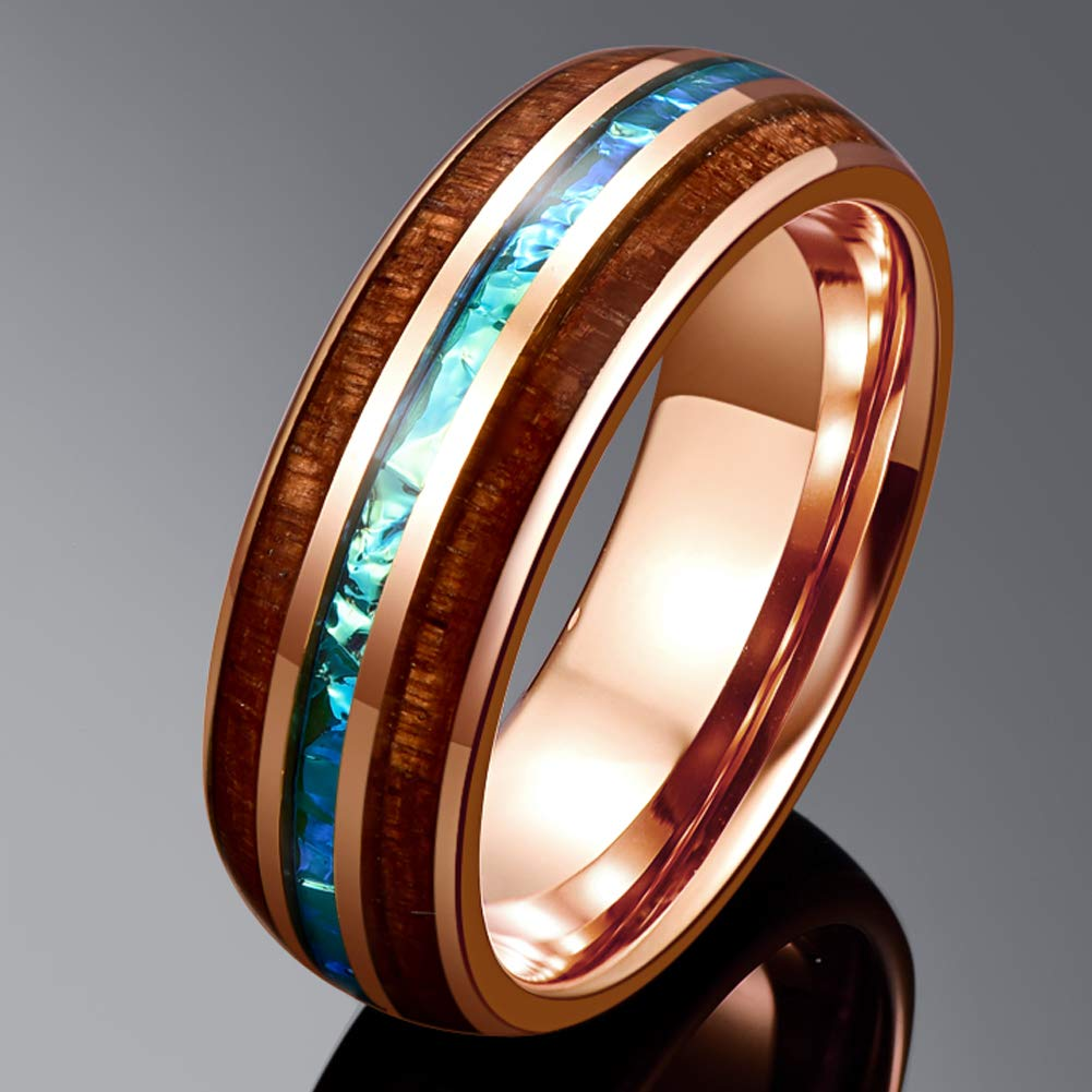 Cosmos Collection Rose Gold - Tungsten Carbide Men's Wooden Ring - Sandalwood Inlay - 8mm