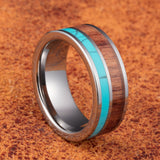 Crimson - Tungsten Carbide Men's Wooden Ring with Sandalwood Inlay - 8mm