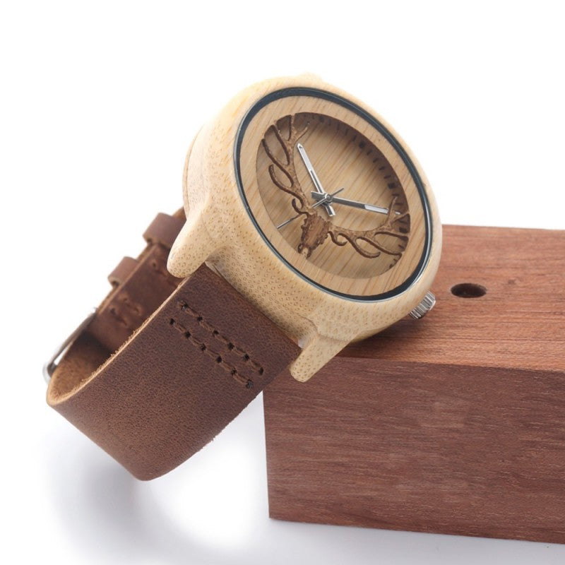 Red Deer Stag Series - Bamboo & Maple Wooden Watch