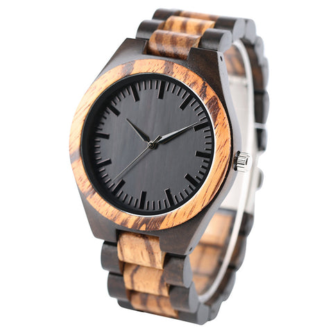 Edmond Series - Zebrawood & Walnut Wooden Watch
