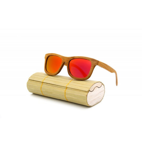 Aiken Bamboo Collection - Wayfarer Series Wooden Sunglasses - Fire Tint
