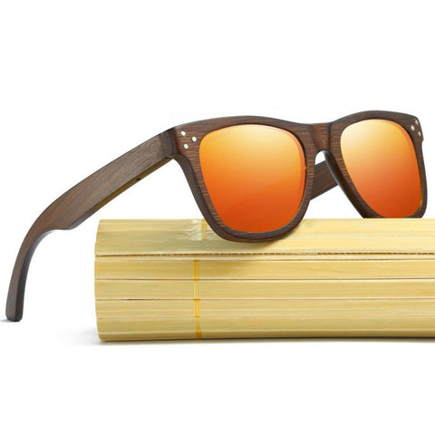 Alexander Walnut Wood Collection - Wayfarer Round Series Wooden Sunglasses - Fire Tint