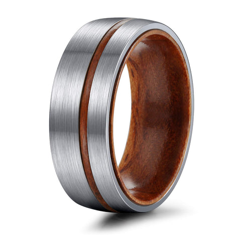 Lazarus - Titanium Men's Wooden Ring - Sandalwood Inlay - 8mm