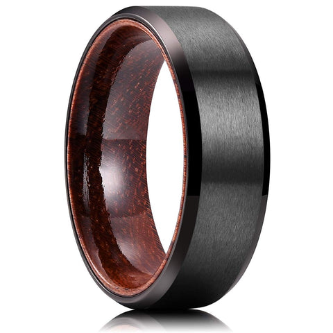 Magnus - Titanium Men's Wooden Ring - Sandalwood Inlay - 8mm