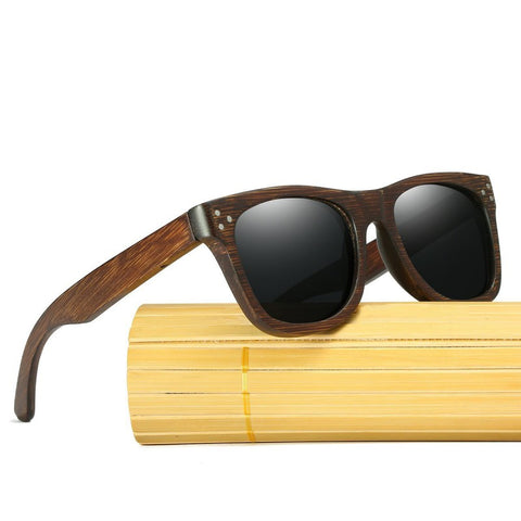 Alexander Walnut Wood Collection - Wayfarer Round Series Wooden Sunglasses - Midnight Tint