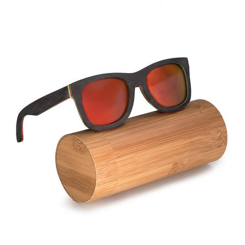 Mountain Ebony Collection - Skateboarder Series Wooden Sunglasses - Fire Tint