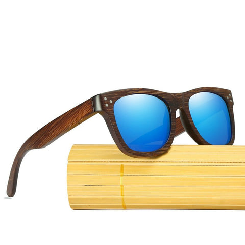 Alexander Walnut Wood Collection - Wayfarer Round Series Wooden Sunglasses - Ocean Tint