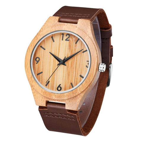 Stavros Series - Bamboo Wooden Watch with Brown Leather Strap