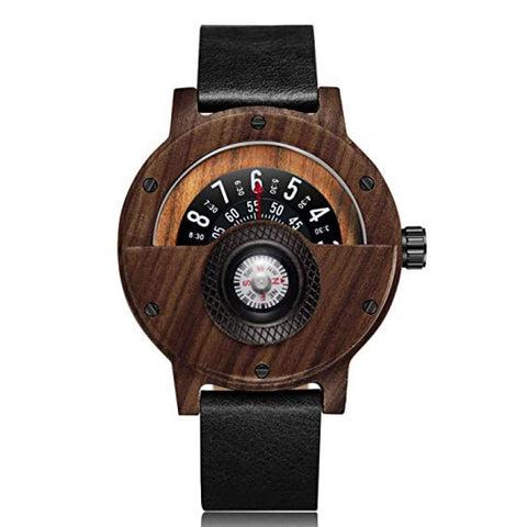 Compass Series - Ebony Men's Wooden Watch with Leather Band