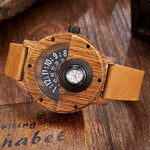 Compass Series - Bamboo Men's Wooden Watch with Leather Band