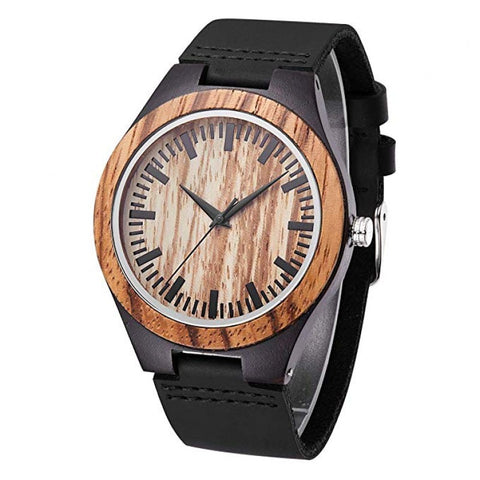 Edmond Series - Zebrawood Wooden Watch with Black Leather Strap