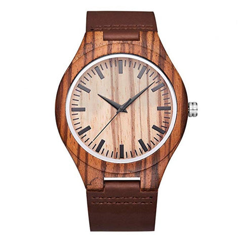 Apollo Series - Zebrawood Wooden Watch with Brown Leather Strap