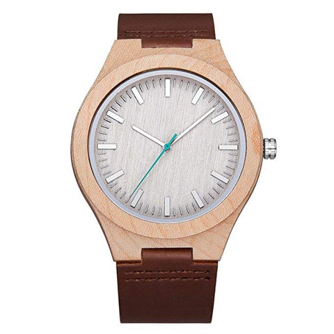 Apollo Series - Maple Wooden Watch with Brown Leather Strap