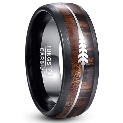 Copy of The Arrow Collection Zebra - Tungsten Carbide Men's Sandalwood Wooden Ring - 8mm