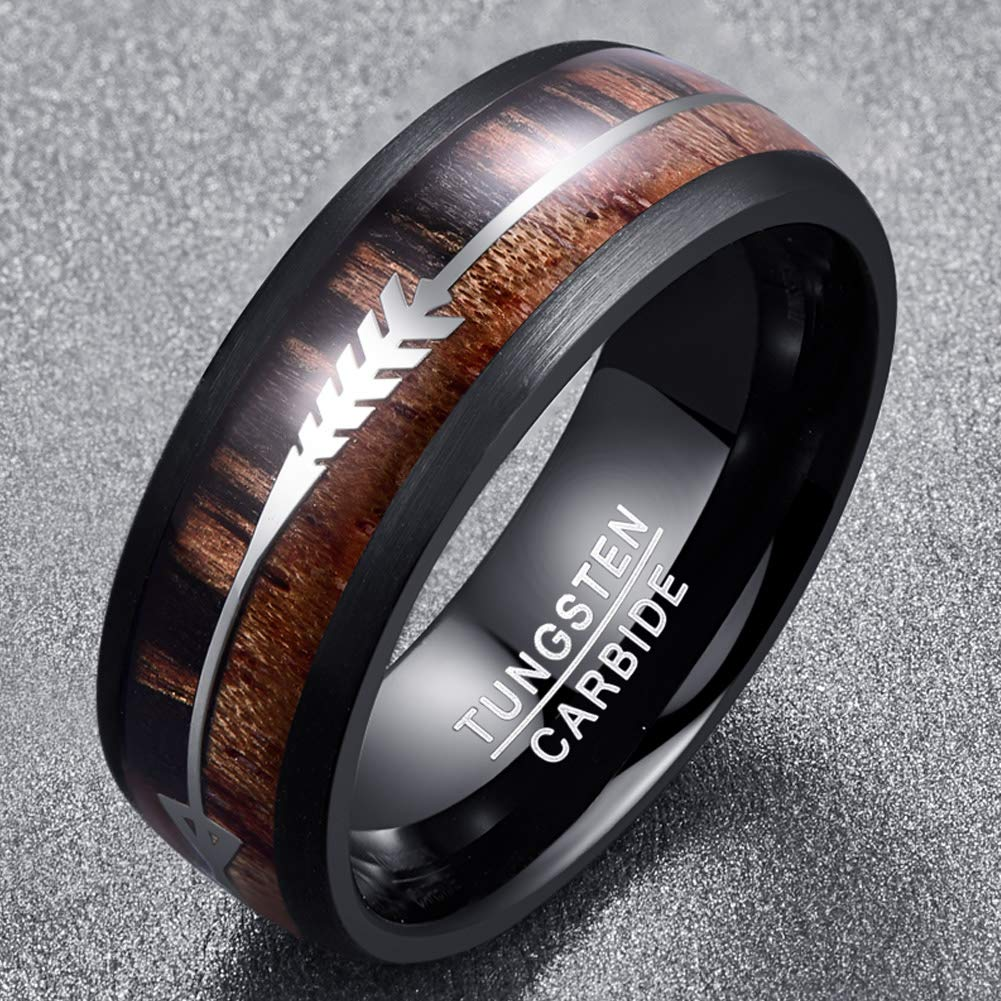 The Arrow Collection Zebra - Tungsten Carbide Men's Sandalwood Wooden Ring - 8mm