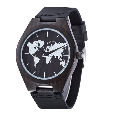 World Map Series - Ebony Wooden Watch