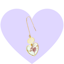 Load image into Gallery viewer, Pressed Purple Petals Heart Threaders