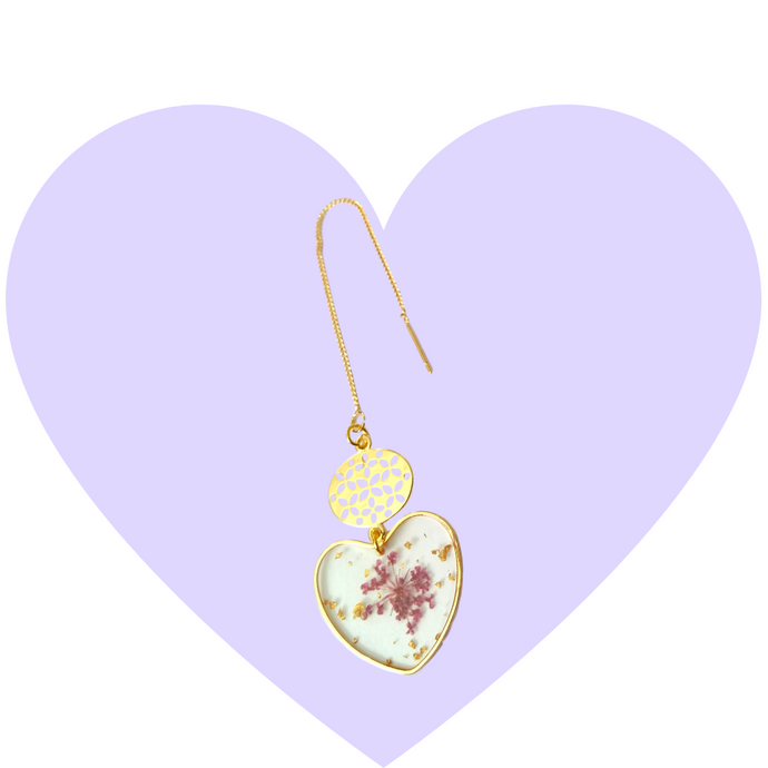 Pressed Purple Petals Heart Threaders