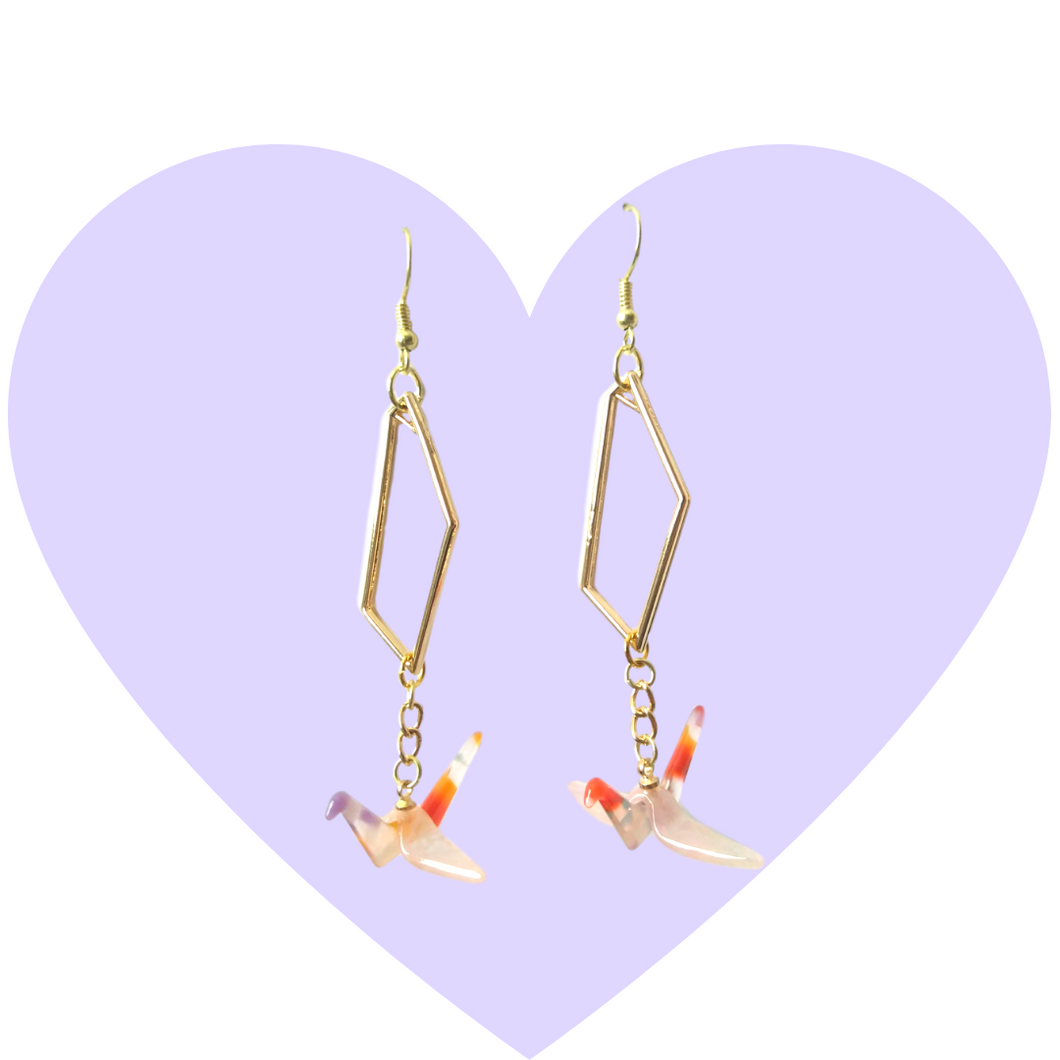 Origami Crane Acetate Earrings