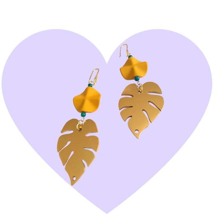 Lush Life Brass Monstera Leaf Earrings