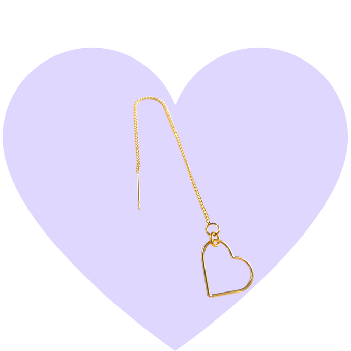 Minimalist Gold Heart Threaders