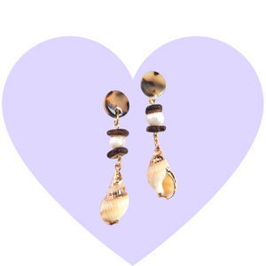 Take Me to the Sea Shell + Pearl Earrings