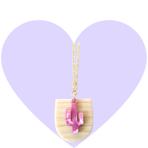 Pink Pearlesque Cactus Necklace