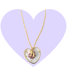 Load image into Gallery viewer, Purple Petals Initial Necklace