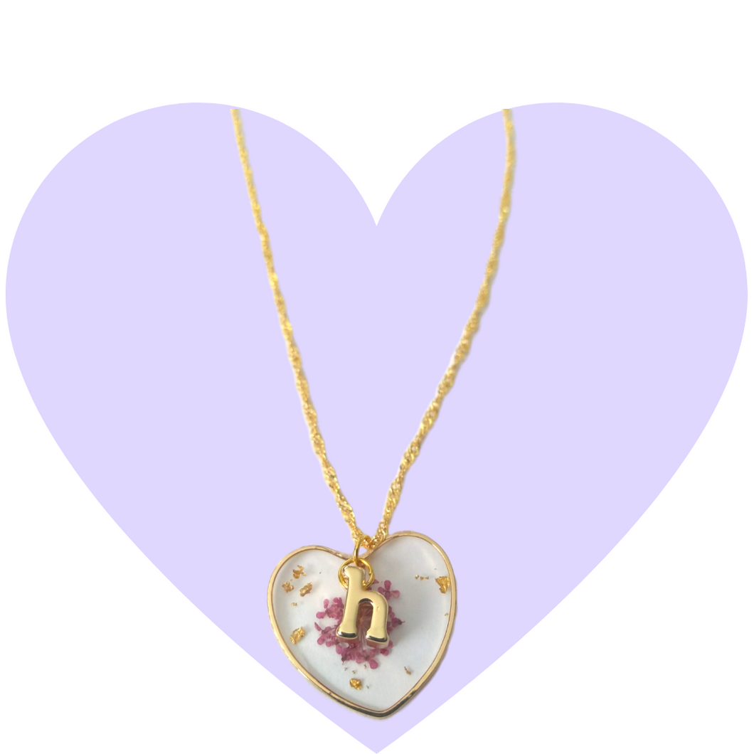 Purple Petals Initial Necklace