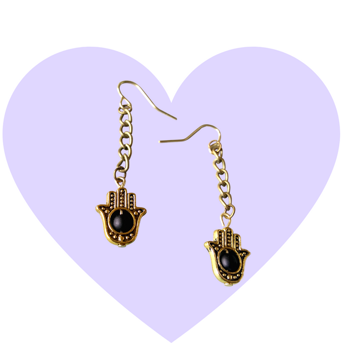 Hamsa Protection Dangle Earrings