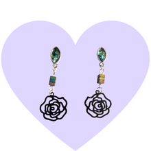 Load image into Gallery viewer, Black Roses + Abalone Earrings