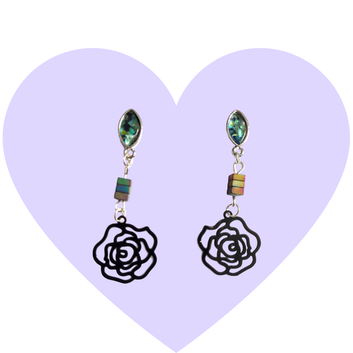 Black Roses + Abalone Earrings